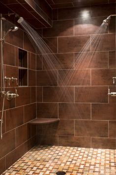This shower would be perfect double shower head but not too big nice