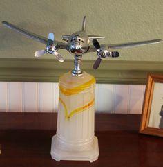 Original 1930′s Art Deco DC-3 Chrome Airplane Lamp on Agate base Avation Light