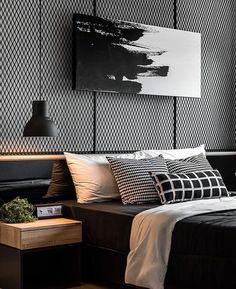 O uso do preto e branco fica uma composição moderna e linda! Projeto de autoria desconhecida