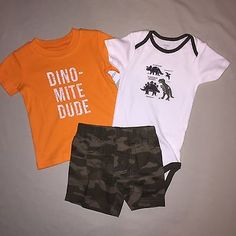 BOYS 18 MONTHS CARTERS 3 PIECE SET DINOSAUR OUTFIT SHORTS SHIRT NWT