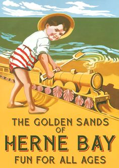 Vintage Travel Poster - Herne Bay ~ Kent Coast - England - by Alan Durman. Vintage Advertising Posters, Vintage Travel Posters, Vintage Advertisements, Vintage Ads, British Travel, British Seaside, British Isles, Ireland Beach, Beach Posters