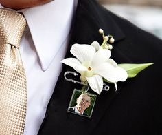For those of that cannot be there with you on your special day. Groom Boutonniere Lapel Pin Custom Photo Memorial by KCowie, $16.95