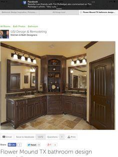 Dark Emperador Marble, dark cabinets & travertine floors