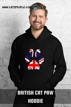 The British flag inside a cat paw design for british cat owners and cat lovers. For english cat parents who are proud of their cats and country, this hoodie is just purrfect for you! This hoodie is everything british cat moms and cat dads dream of! It's soft, smooth and cozy enough for British weather. #britishcatpaw #britishcatlover #britishcatmom #britishcatlady #britishcatdad #britishcathoodie #britishcatloverhoodie #catmomhoodie #catdadhoodie