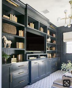 Ideas For Dark Wood Desk Office Built Ins – Office Wood Desk Home Design, Home Office Design, Home Office Decor, Design Ideas, Desk Office, Office Paint, Office Designs, Blue Office, Office Ideas