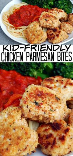 These chicken parmesan bites are the perfect toddler-approved meal for busy weeknights! The whole meal is ready in under 30 minutes. via Danielle Simmons for dinner healthy kids Chicken Parmesan Bites - The Perfect Toddler-Approved Meal Toddler Friendly Meals, Healthy Toddler Meals, Toddler Dinners, Healthy Dinners For Kids, Healthy Recipes For Toddlers, Easy Kids Meals, Kids Meal Ideas, Toddler Lunches, Healthy Family Meals