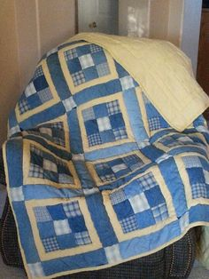 Recycled denim and woven plaid picnic quilt. Forever Young Creations (photo only) Plaid Quilt, Rag Quilt, Scrappy Quilts, Denim Quilts, Denim Patchwork, Blue Jean Quilts, Yellow Quilts, Quilting Projects, Quilting Designs