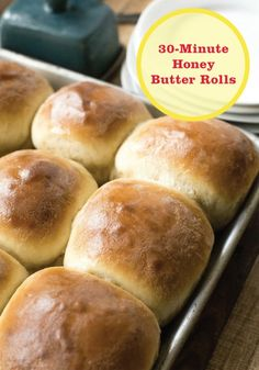 These 30 Minute Honey Butter Rolls are delicious and fast to make. This makes them perfect for weeknights and weekends alike!