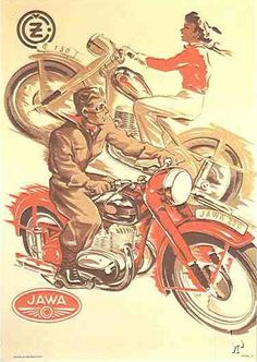 JAWA 150 Jawa 250 poster from Chechoslovakia - Vintage Poster Reproductions. Czech transportation poster features a man riding a red motorcycle and a women riding the opposite direction on a brown bike. Red Motorcycle, Motorcycle Posters, Car Posters, Motorbike Girl, European Motorcycles, Vintage Motorcycles, Vintage Cycles, Vintage Bikes, Art Moto