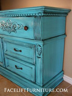 Dresser in Turquoise with Black Glaze, repurposed into media console, on Facelift Furniture  http://www.faceliftfurniture.com/gallery/upstyled-furniture/#sg2