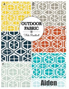 OUTDOOR Cushions- Outdoor Pillows- Outdoor Fabric- Box Cushions- Deck Cushions- Patio Cushions- Chair Cushions- AIDEN