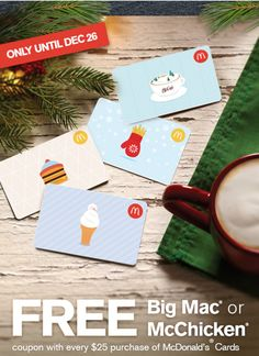 McDonalds Canada Promotions: FREE Big Mac or McChicken Coupon with Every $25 McDonalds Card Purchase! http://www.lavahotdeals.com/ca/cheap/mcdonalds-canada-promotions-free-big-mac-mcchicken-coupon/156199?utm_source=pinterest&utm_medium=rss&utm_campaign=at_lavahotdeals