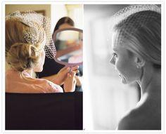 blusher veil and jeweled hair barrette