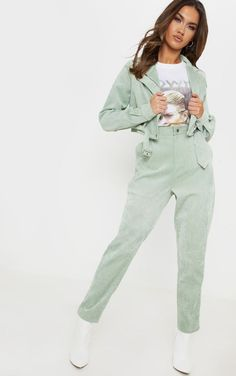Mint Green Cord High Waisted Straight Leg PantsAdd some pastels into your wardrobe doll. Mint Green Pants, Green Pants Outfit, Teal Pants, Mint Green Outfits, Pastel Pants, Two Piece Pants Set, Two Piece Dress, Two Piece Outfit, Mint Green Fashion