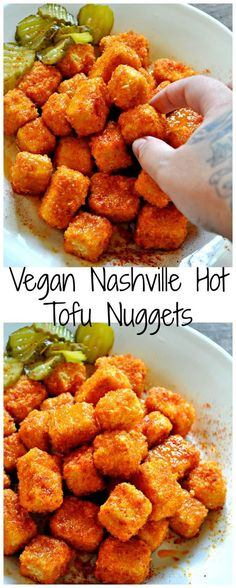 vegan tofu nuggets  *For 4      1/2 tsp Garlic powder     1 cup Almond milk or other non dairy milk     1 Block Tofu, Extra firm     2 tbsp Agave syrup     2 1/3 tbsp Hot sauce     1/4 cup Vegan butter     1 cup All purpose flour     1 tsp Paprika     1 1/2 tsp Salt     1 tsp Apple cider vinegar     3 tbsp Olive oil     2 cup Panko bread crumbs