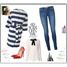 Stripe day by sarapires on Polyvore featuring Alexander McQueen, MSGM, Vero Moda, Christian Louboutin, Lancôme, Cynthia Rowley and Chanel