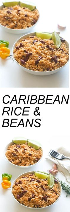 Caribbean Rice and red Beans- Seasoned with garlic and onions and creole spice. Infused with bay leaves, thyme, Scotch bonnet and coconut milk.