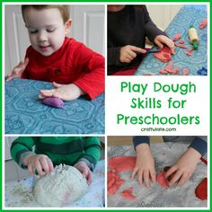 Nine basic play dough skills that every preschooler should learn in order to get the most out of playing with dough. Fine Motor Activities For Kids, Motor Skills Activities, Games For Toddlers, Toddler Activities, Preschool Art, Toddler Preschool, Physical Play, Playdough Activities, Toddler Play