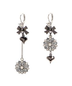 .:* L - Betsey Johnson mismatched dangle earrings in silver with large, rhinestone brooch type charm and black bows and hearts.