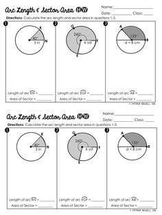 Length of circle math sector area and arc length for the geometry interactive notebook and homework . Geometry Interactive Notebook, Teaching Geometry, Interactive Notebooks, Teaching Math, Teaching Ideas, Circle Math, Circle Geometry, Geometry Worksheets, Geometry Activities