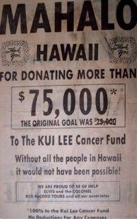Image result for Elvis Presley, Kui Lee Cancer Fund.