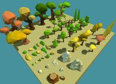 Cartoon Trees, Rocks & Bushes - Low Poly Vegetation Pack €2.15