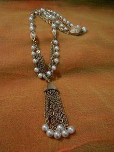 Unique Vintage Goldtone & Faux Pearl Pendant