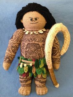 """Crocheted """"Maui"""" doll based on the character from """"Moana"""""""