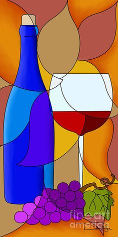 Wine Bottle And Glass Art Print by Debi Payne. All prints are professionally printed, packaged, and shipped within 3 - 4 business days. Choose from multiple sizes and hundreds of frame and mat options. Wine Wall Art, Wine Art, Glass Painting Designs, Wine Painting, Cubism Art, Arte Pop, Stained Glass Patterns, Mosaic Patterns, Bottle Art