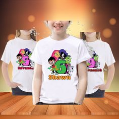 Teen titans go Birthday Shirt. Name and year customized. T shirt  Birthday. Birthday shirt. Personalized Birthday Shirt. by APartyToRemember on Etsy