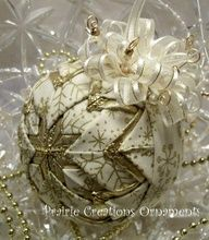 Quilted Ornament Gold Snowflakes on Ivory by MyPrairieCreations~'Tis the Season for beauty #Ornaments
