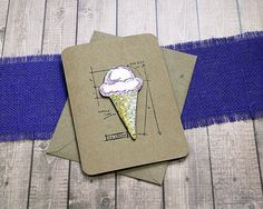 The Technical Ice Cream Cone Greeting Note Card by PaperDahlsLLC