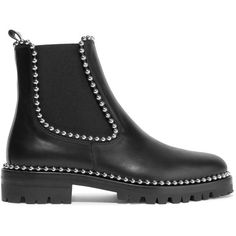 Alexander Wang Spencer studded leather Chelsea boots ($1,025) ❤ liked on Polyvore featuring shoes, boots, ankle booties, leather booties, leather boots, black slip on boots, black chelsea boots and black ankle booties