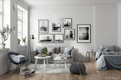 decordemon: Scandinavian interior means sophistication and elegance Spacious Living Room, Home Living Room, Living Room Decor, Scandinavian Style Home, Scandinavian Interior, Flat Interior Design, Small Room Design, Bedroom Wall, Decoration