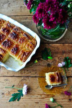 Galaktompoureko - Γαλακτομπούρεκο Greek Desserts, Camembert Cheese, Waffles, Dairy, Breakfast, Food, Morning Coffee, Eten, Waffle