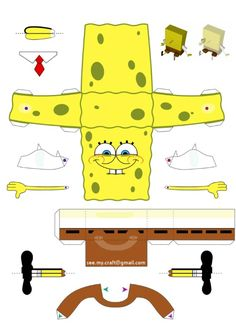 Blog Paper Toy papertoy Spongebob template preview Papertoy de Bob léponge