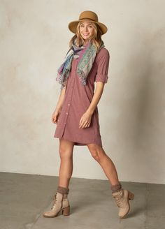 Great dress that is loose at the bottom. Fun scarf and hat. Fair trade company with long lasting products Outdoorsy Fashion, Outdoorsy Style, Cute Fashion, Fashion Outfits, Cooling Scarf, Fair Trade Fashion, Stitch Fix Outfits, Cool Style, My Style