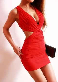 Women's sexy deep V neck sleeveless hollow out waist hip-hugger slim fit club dresses online