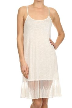 Soft solid white adjustable strap lace extender tunic/dress with embroidered mesh hem. This is a versatile top to add to your collection. Works great to add a few inches to a mini dress and gives you that chic bohemian look. Lace Extender Tunic by Mystree. Clothing - Dresses - Casual Texas