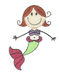 Stix Girl Mermaid - 4X4! | Beach/Ocean | Machine Embroidery Designs | SWAKembroidery.com Designs by Juju