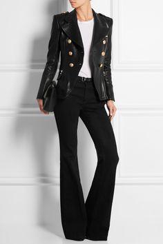BALMAIN Textured-leather jacket