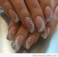 Silver and white nail art design