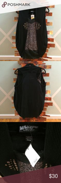 NWT- Self Esteem Vest w/stud detail Great for summer when adding a great look to any tank or cami. For casual or work...also great for over your favorite 3/4 or long sleeve tops too in the fall and winter. So versitile! Lightweight ribbed cotton. Self Esteem Jackets & Coats Vests