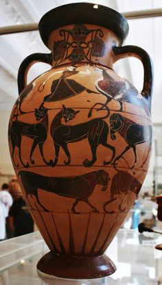 Terracotta neck-amphora, black figured, Attic, ca. 560 B.C., Metropolitan Museum of Art, New York, 2009
