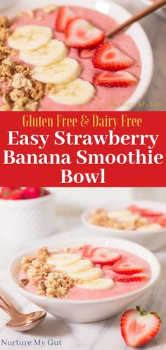 Easy Strawberry Banana Smoothie Bowl-a healthy breakfast of creamy blended fruit layered with freshly chopped strawberries, sliced bananas and crunchy granola. This nourishing breakfast is full of who Easy Smoothies, Fruit Smoothies, Smoothie Recipes, Banana Smoothie Bowl, Healthy Strawberry Banana Smoothie, Healthy Strawberry Recipes, Smothie Bowl, Nutritious Breakfast, Fruit For Breakfast