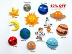 SPACE for kids SOLAR SYSTEM felt fridge por LadybugOnChamomile