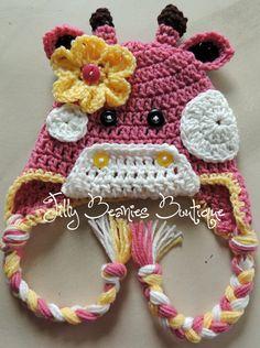 Crocheted Girl Giraffe Beanie by JillyBeaniesBoutique on Etsy, $25.00