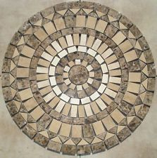 36 INCH SJ8 MOSAIC MARBLE, AND TRAVERTINE FLOOR MEDALLION FLOOR TILE ART