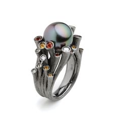 Fei Liu Dawn Tahitian pearl sculpture ring in black gold with garnet, citrine, and diamonds Black Gold Jewelry, Pearl Jewelry, Jewelry Art, Jewelry Rings, Fine Jewelry, Bijoux Design, Jewelry Design, Tahitian Black Pearls, Estilo Fashion