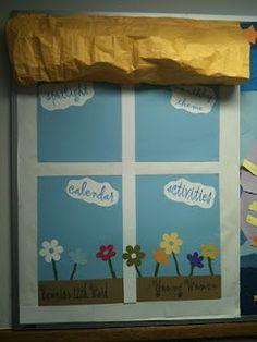 bulletin board made to look like window with awning Preschool Bulletin Boards, Bulletin Board Display, Classroom Bulletin Boards, Classroom Decor, Outdoor Classroom, Classroom Displays, Preschool Classroom, Preschool Ideas, Teaching Ideas